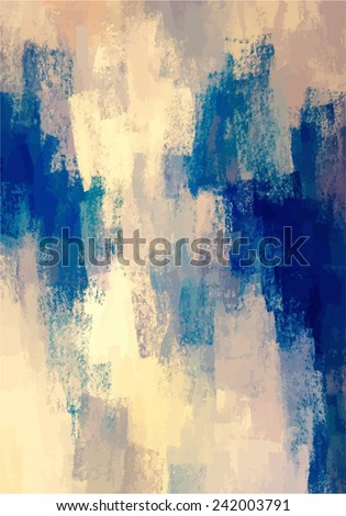 Beige and blue brush strokes background - stock photo