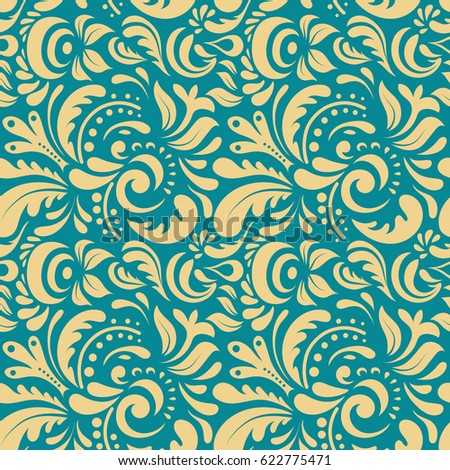Beige and blue seamless background doodle ornament pattern. Abstract arabesque background for greeting card, presentation or wedding invitations. Traditional gothic damask background.