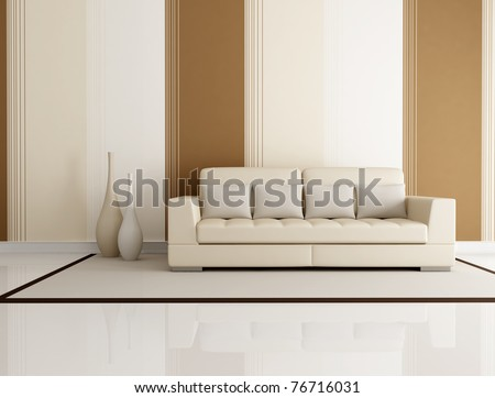 beige and brown living room with beige couch and wallpaper - rendering - stock photo