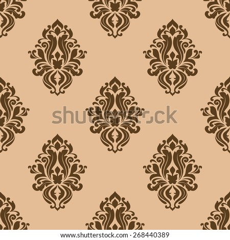 Beige and brown seamless pattern with decorative floral motifs for textile design - stock photo