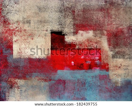 Beige and Red Abstract Art Painting - stock photo