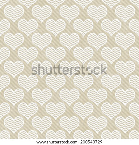 Beige and White Chevron Hearts Pattern Repeat Background that is seamless and repeats - stock photo