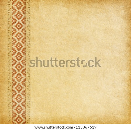 Beige background. Old worn paper with oriental ornament. - stock photo