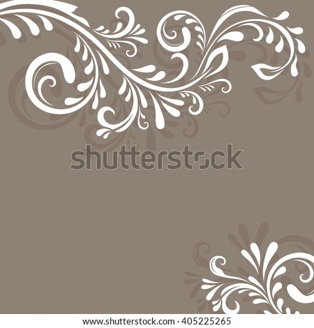 Beige background with floral ornament and copy space. - stock photo