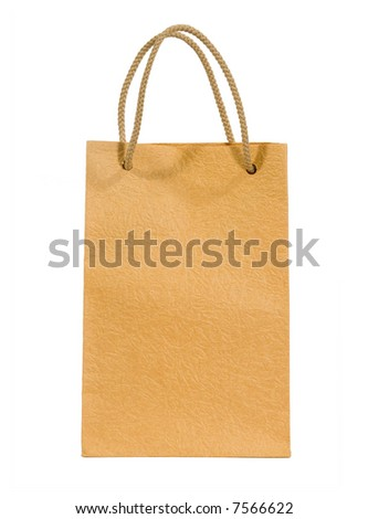Beige bag isolated on white (clipping path) - stock photo