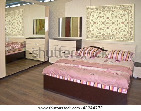 beige bedroom - stock photo