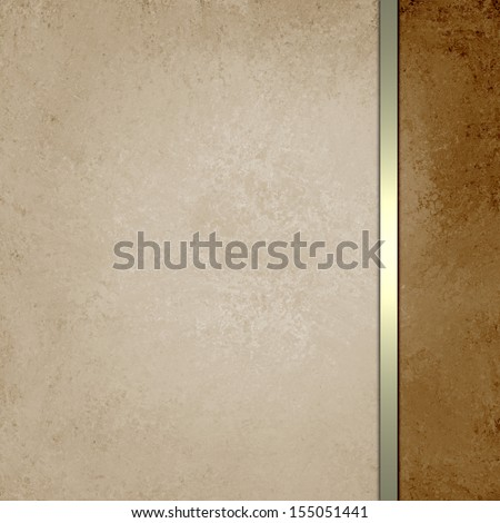beige brown background with gold luxury ribbon stripe, country western background with rustic vintage grunge background texture, leather distressed look, elegant formal background style, tan and white - stock photo