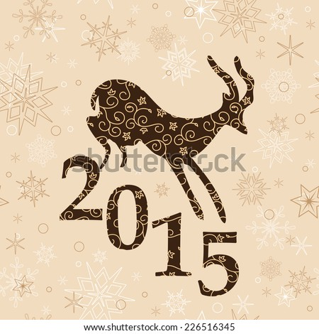 beige christmas background with goat and 2015 - stock photo