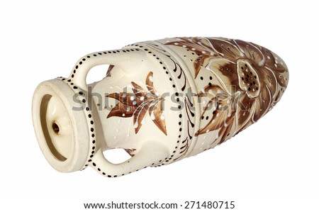 beige decorative clay vase lying on its side on the white background - stock photo