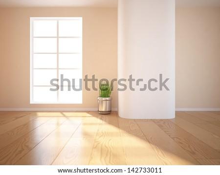 beige empty interior - stock photo