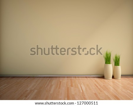 beige empty interior with grass - stock photo