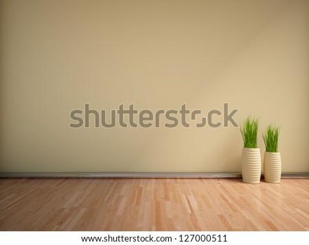 beige empty interior with grass