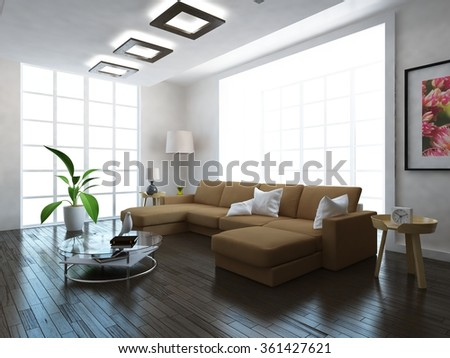 beige empty wall. 3d illustration