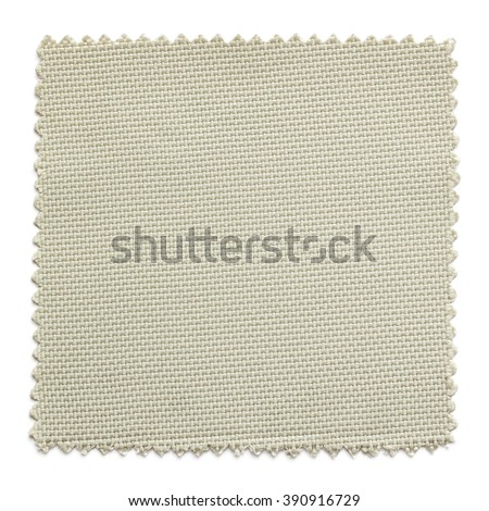 beige fabric swatch samples isolated on white background - stock photo