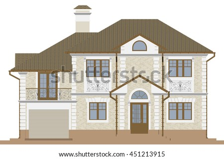 Beige facade of a private house with a garage. 3D rendering