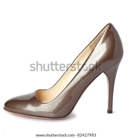 Beige female new shoes on high heel-stiletto - stock photo