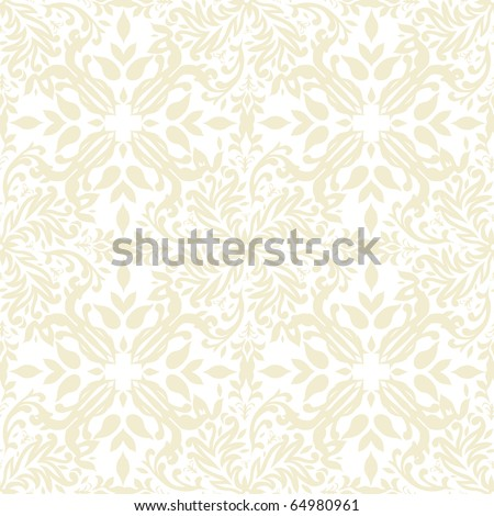 beige floral seamless repeat background with square tile - stock photo