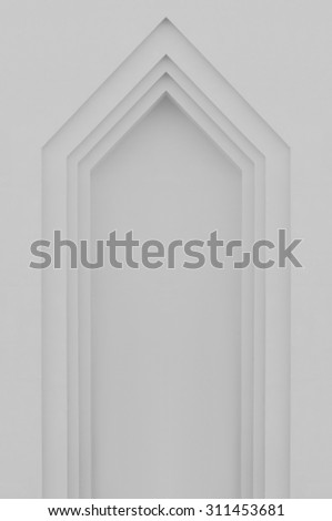 Beige grey plastered faux arch, false fake window or door stucco frame, textured background, large detailed vertical blank empty copy space, gray bright texture, gentle shadows - stock photo