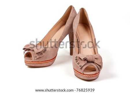 Beige high heel shoes  isolated on white background - stock photo