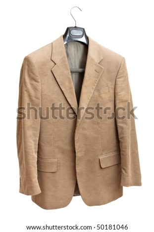 beige jacket on hanger isolated on white background - stock photo