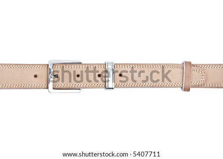Beige leather belt with metal buckle isolated on a white background - stock photo