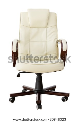 Beige leather office chair with clipping path - stock photo