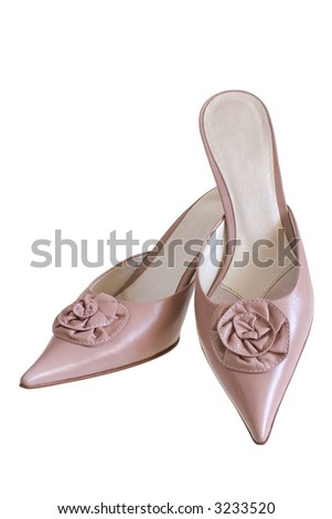 Beige leather shoes on a white background