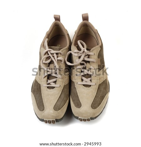 beige leather sneakers on white