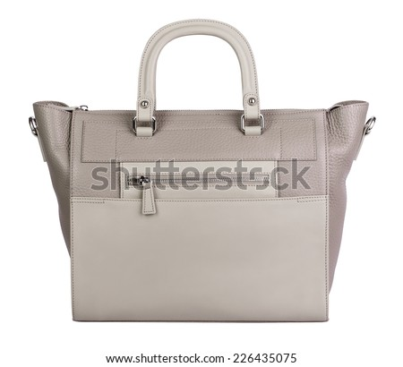 Beige natural leather female purse isolated on white - stock photo