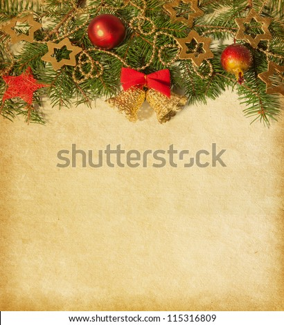 Beige paper background with Christmas border. - stock photo