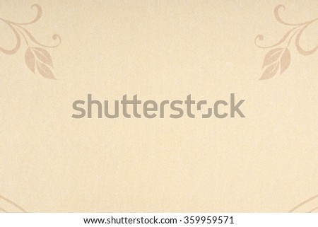 Beige paper texture background. Drawn flowers decorations at the edges.