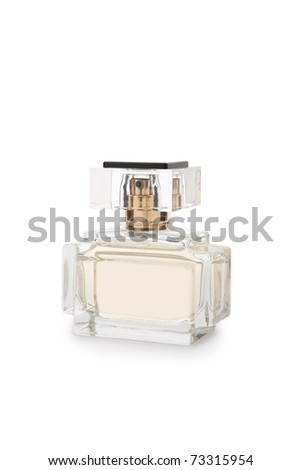 Beige perfume bottle with shadow isolated on white - stock photo