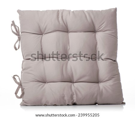 beige pillow isolated on white - stock photo