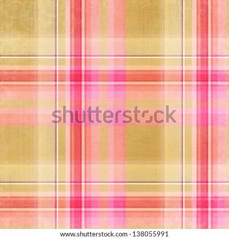beige, pink, white and orange plaid pattern - stock photo
