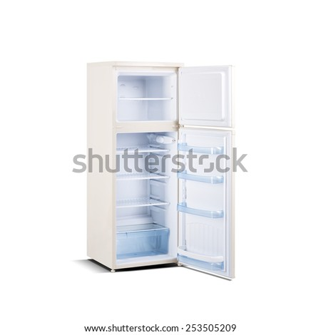 beige refrigerator with open door isolated on white - stock photo