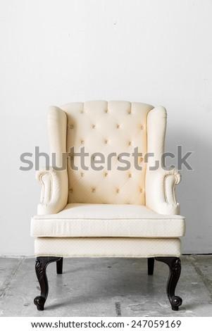 beige Retro Classic fabric style chair - stock photo