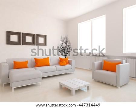 Beige room interior. Living room interior. Scandinavian interior. 3d illustration - stock photo