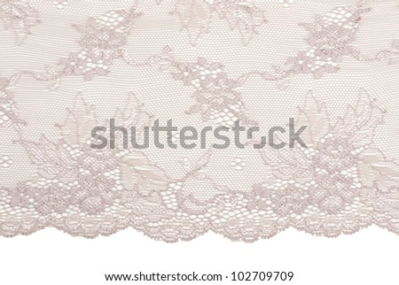 Beige satin lace tracery on a white background - stock photo