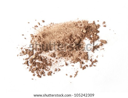 beige scattered eyeshadows isolated on white background - stock photo