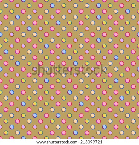 Beige Seamless Polka Dot Pattern with Colorful Pink Yellow Purple Spots. Background - stock photo