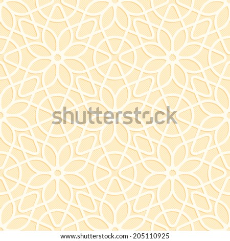 Beige seamless texture convex lace floral pattern in oriental style - stock photo
