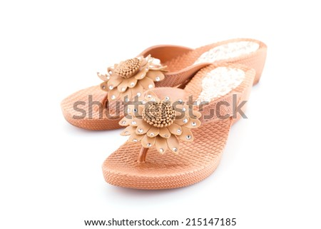 Beige shoes isolated on white background. - stock photo