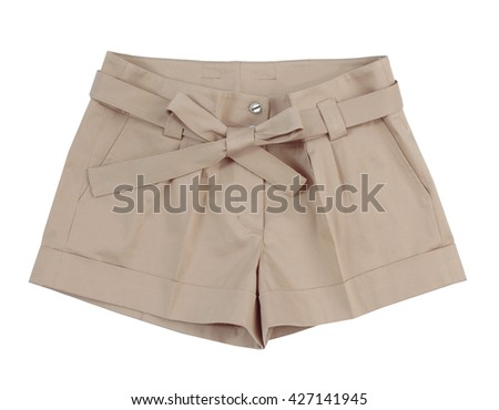 beige shorts isolated on white background
