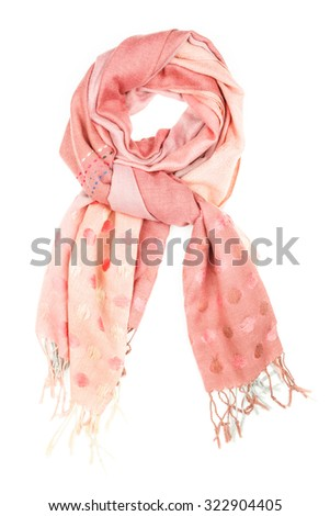 Beige silk scarf isolated on white background.  Female accessory.