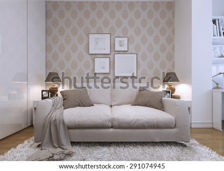 wallpaper for living room wall. Beige sofa in the living room a modern style  Wallpaper on walls with Room Stock Images Royalty Free Vectors