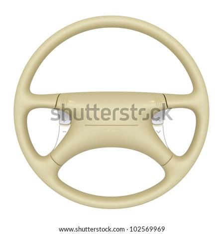 Beige steering wheel isolated on white background - stock photo
