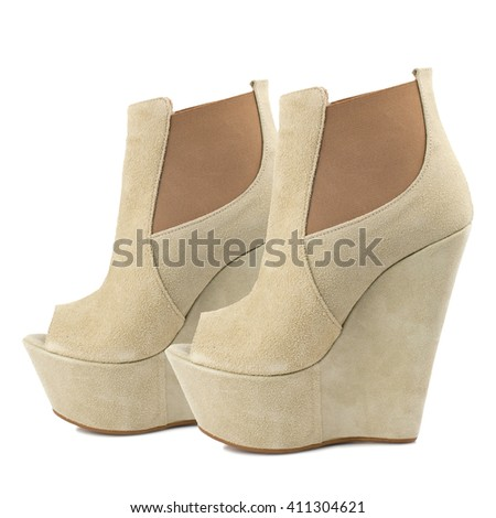 Beige suede high heel women shoes isolated on white background. - stock photo