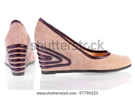 Beige suede platform shoes, isolated on white - stock photo