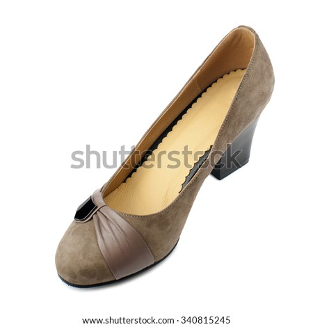 Beige suede shoe isolated on white background.Top view. - stock photo