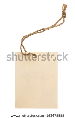 Beige tag with string isolated on white. - stock photo